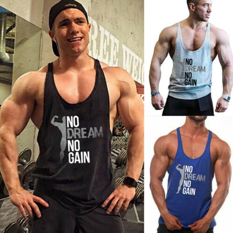 2019 New Brand Fashion Men Gym Muscle Bodybuilding Sleeveless Shirt Hot Sale   Tank     Top   Singlet Fitness Sport Print Vest Black