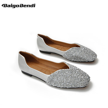 Spring Hot Sale Girls Bling Sequined Cloth Flats Woman Large Size 33 41 42 43 Casual Shoes Bridesmaid Beautiful