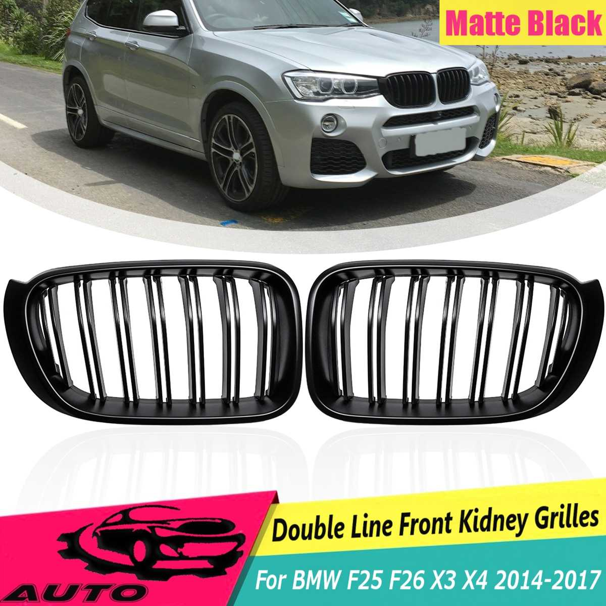 1 Pair ABS Matt Black 2 Line Slat Front Kidney Grill Racing Grill Replacement For BMW F25 F26 X3 X4 2014 2015 2016 2017