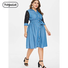 Pickyourlook Lace Women Dress Large Size Autumn 3/4 Sleeve Denim Lady Midi Dress Button Belted Blue Turn-Down Collar Robe Femme недорого