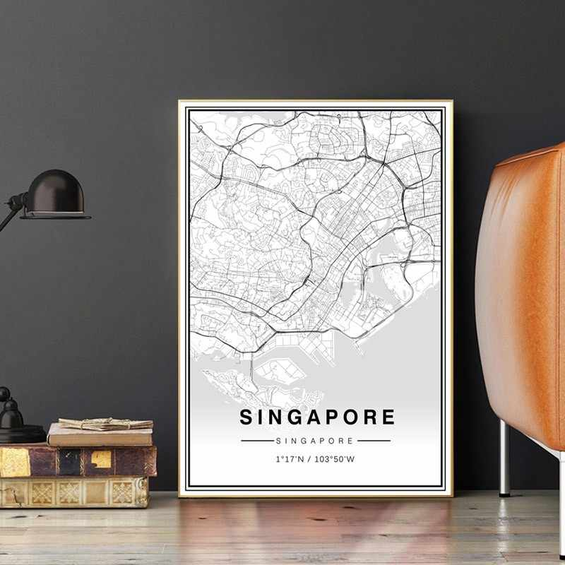 SURE LIFE Minimalist Singapore Map Poster Printing on Canvas Painting Black  And White Travel Wall Art Pictures Home Decor