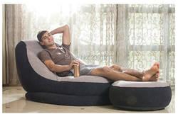 Бесплатная доставка INTEX надувной Флокированный одноместный диван с педалью надувной насос ленивый диван кровать Сиеста кресло для отдыха