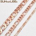 Ожерелье SUNNERLEES из кубинской панцирной цепи Фигаро 5 мм-12 мм, ожерелье из белого розового золота для мужчин и женщин, модные ювелирные изделия...