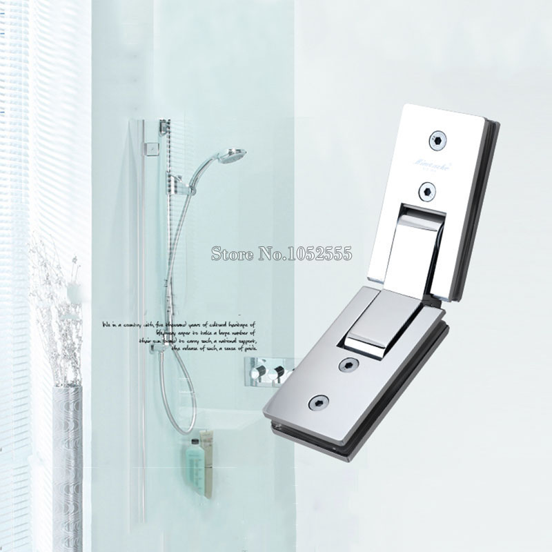 2PCS Stainless Steel 135 Degree Mirror Glass Door Hinges Glass Holder Brackets Shower Bathroom Glass to Glass Clamps Clips