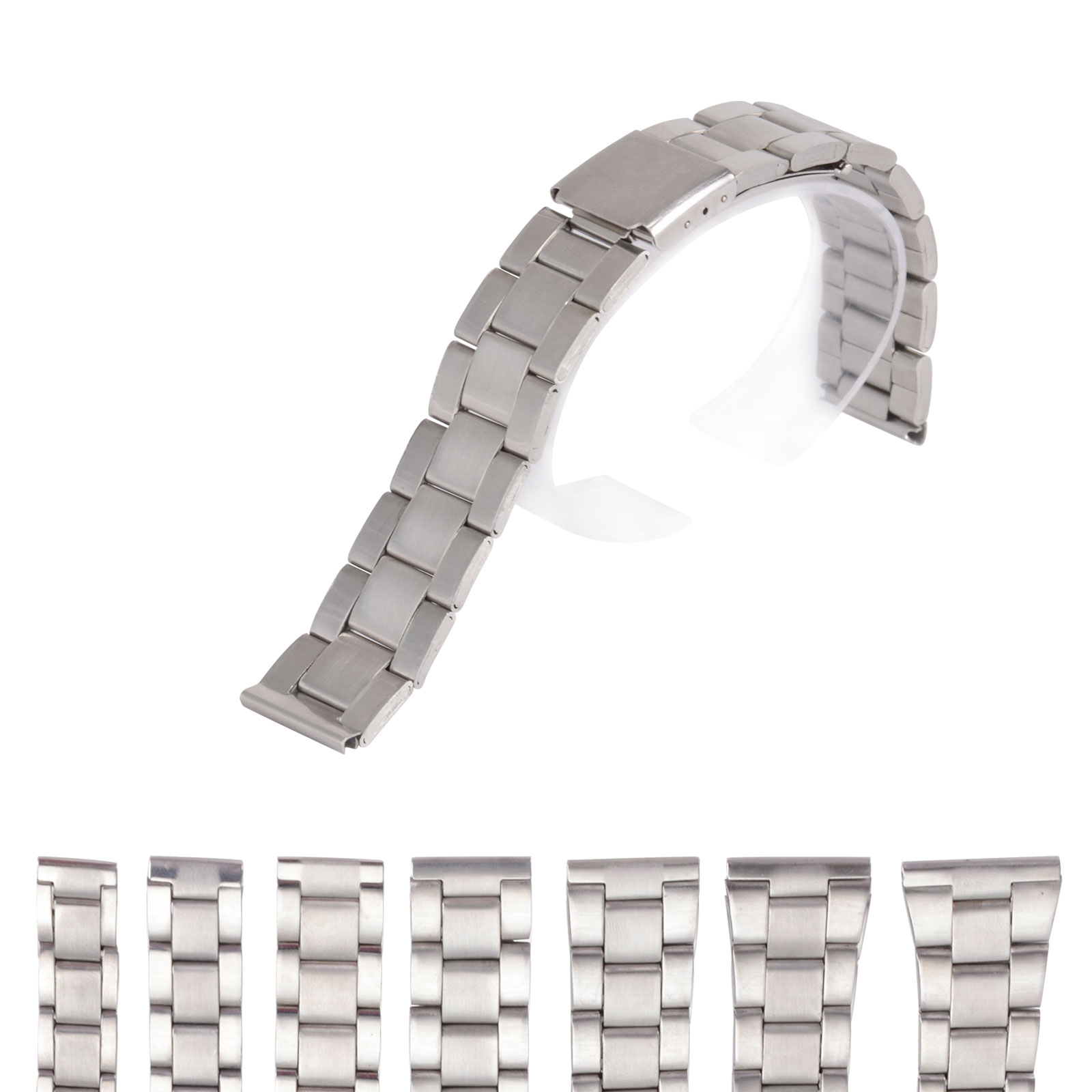 Bracelets Strap Band Straight-End-Watch 24mm-Replacement Stainless-Steel Metal Silver