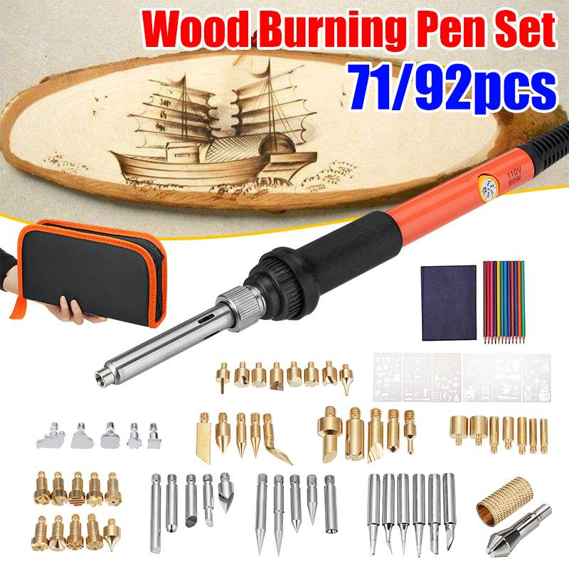 71/92PCS 60W Professional Temperature Adjustable Wood Burning Kit Wood Burner Soldering Iron Pen Set Soldering Wood Burning