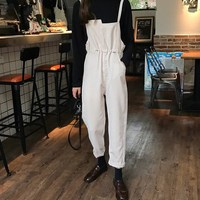 Autumn Women Vintage Corduroy Jumpsuits Casual Sleeveless Overalls Rompers Lace Up Drawstring Loose Paysuits