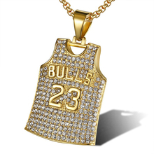 Sport 23 Bulls Pendant Chain Necklace for Men Iced Out Gold Silver Color Hip Hop Jewelry Titanium Steel Dog Tag AAN010 цены онлайн