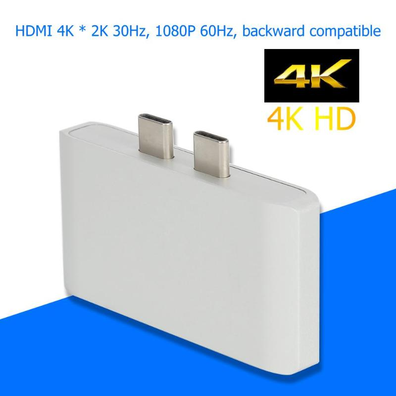 Adaptador <font><b>Bluetooth</b></font> Dual Typ C zu 4 K HDMI <font><b>USB</b></font> <font><b>3.0</b></font> PD 3 in 1 Splitter Adapter <font><b>Bluetooth</b></font> Recever Für MacBook pro Laptop image