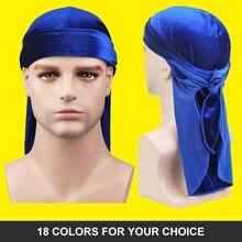 Unisex Velvet durag cap Bandana Hat Durag hip hop headwrap Bandanas Doo DU-RAG Long Tail velvet