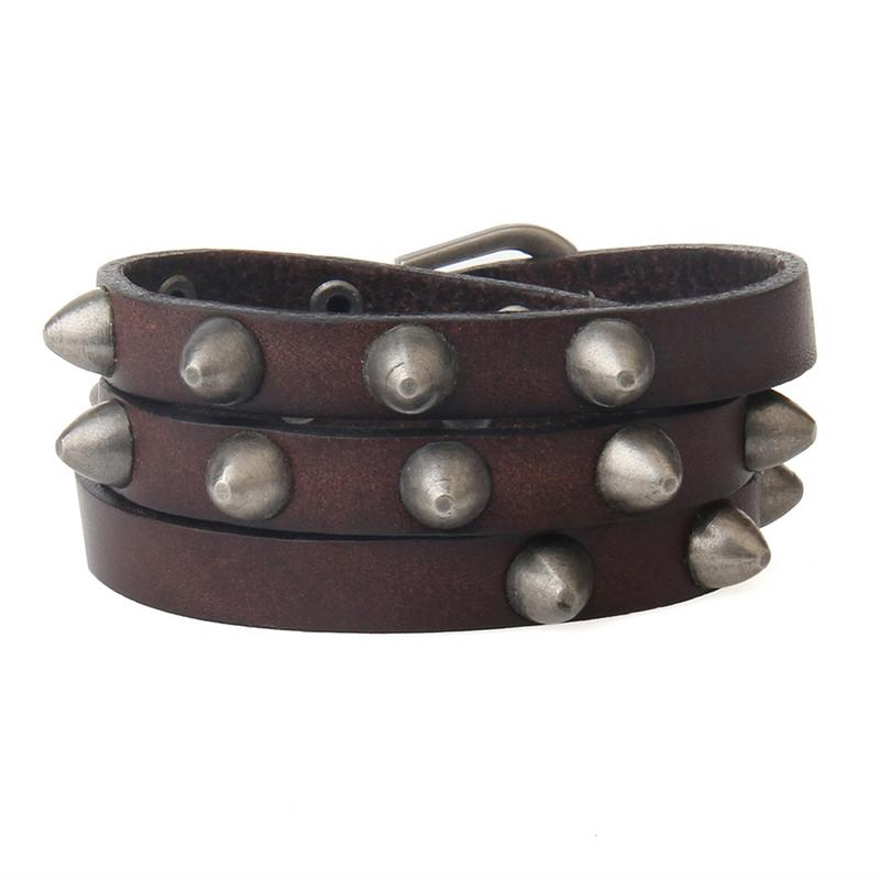 Three-ring Leather Rivet Bracelet For Men's Accessories Jewelry Factory Wholesale