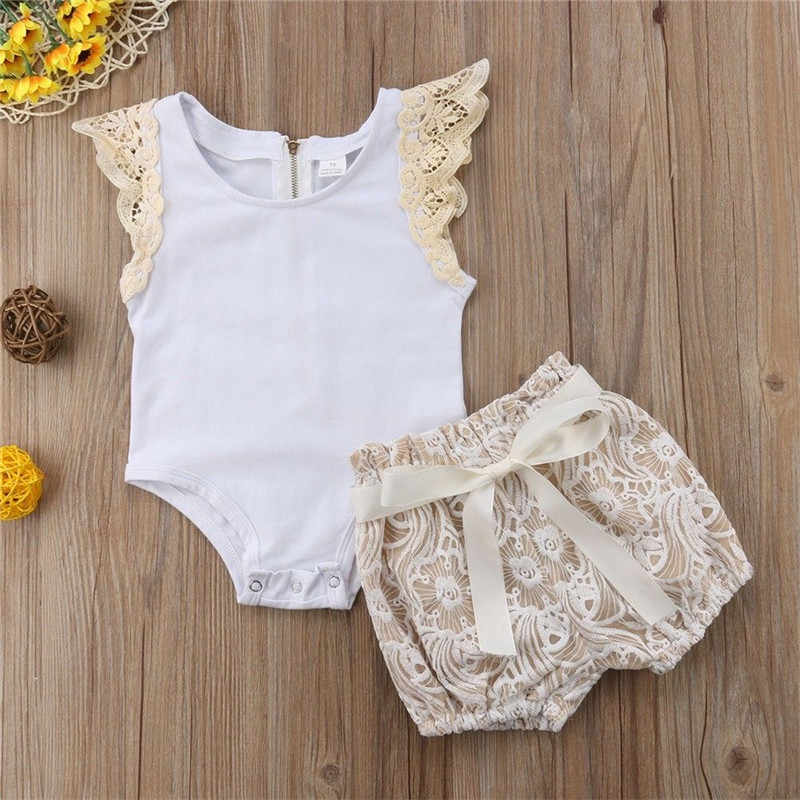 Leuke Pasgeboren Baby Meisjes Vliegen Mouw Wit Bodysuit Tops Lace Flower Shorts 2 STUKS Outfits Prinses Meisjes Zomer Vakantie Kleding