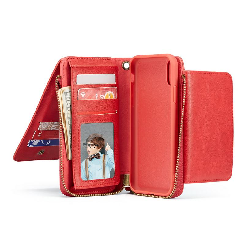 Retro Zipper Leather Lanyard Wallet Phone Flip Case Wallet Case For Apple Iphone X XS XR XS MAX