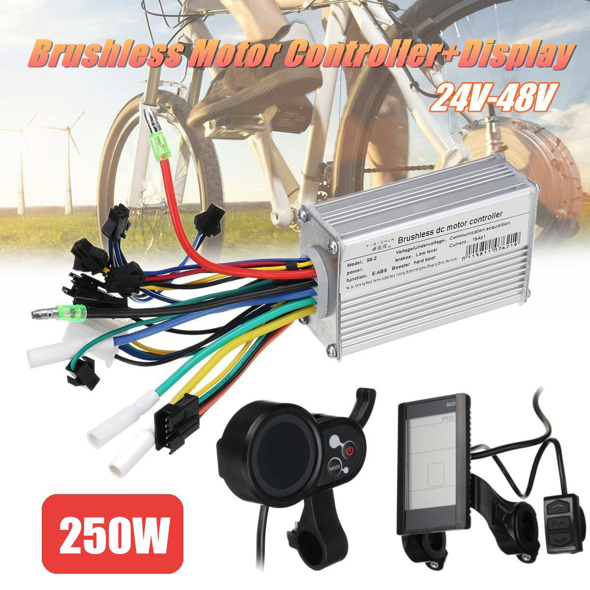 Brushless Motor Controller unit 250W 24V-48V LCD/Smart Display For Scooter E-Bike Electric Bicycle AccessoriesBrushless Motor Controller unit 250W 24V-48V LCD/Smart Display For Scooter E-Bike Electric Bicycle Accessories