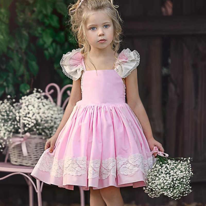 Фото 2019 новое летнее Повседневное платье для девочек с кружевной вышивкой однотонное