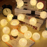 Romantic Cotton ball Atmosphere string lights Bedroom 20LED battery Fairy Lights for Wedding Party / Garden Home Decor Lamp