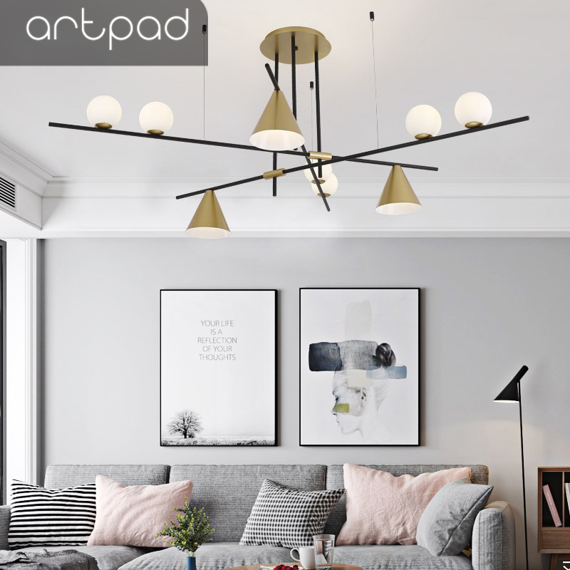Artpad Minimalist Luxury Metal Branch Golden Pendant Light Surface Mounted Nordic Postmodern Style Hanging Lamp Living
