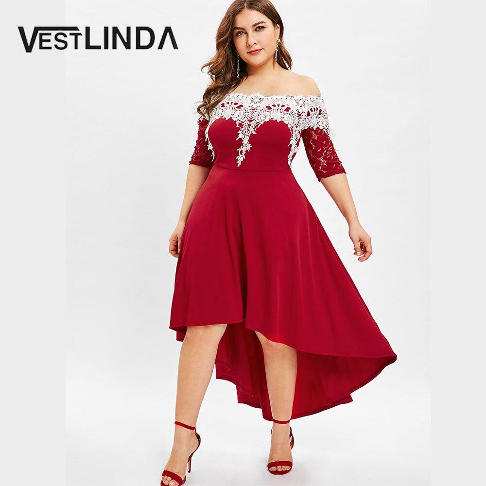 US $17.99 40% OFF VESTLINDA Lace Panel Plus Size High Low Dress Women  Dresses Fashion Spring Summer Half Sleeves Patchwork Dress Vestidos Big  Size-in ...