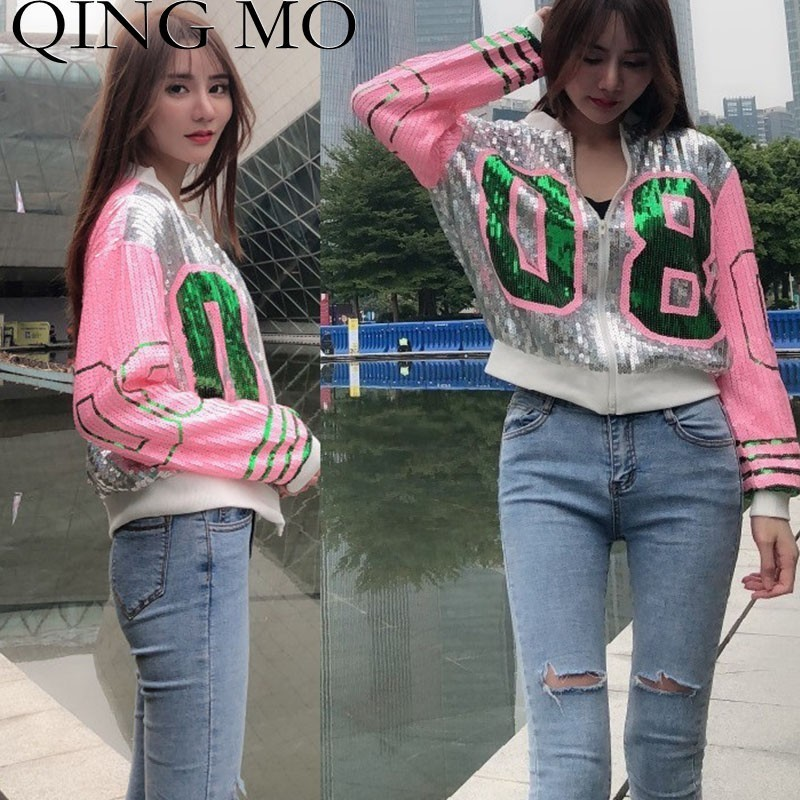 QING MO Full Sequin   Jacket   Women Letter Long Sleeve   Basic     Jacket   2019 Spring Fahion Short   Jacket   Coat For Girls ZLD608A