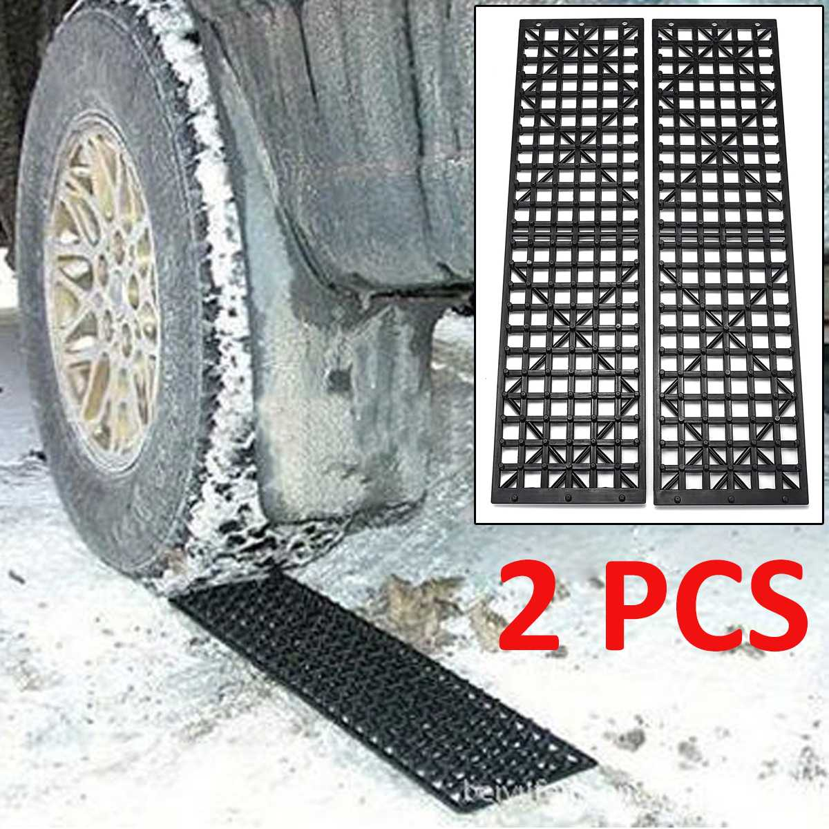 2Pcs Car Snow Ice Mud Road Clearer Auto Vehicle Truck Winter Snow Chains Tires Recovery Traction Mat Wheel Strap Tracks image