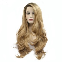 Marquesha Ash Blonde Synthetic Lace Front Wig Long Wavy Ombre Dark Roots Side Part Glueless Cosplay Wigs for Women