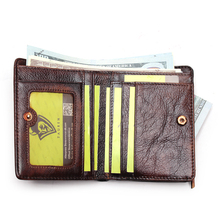RFID Blocking Men's Imported Top Layer Leather Brushed Wallet Handmade Retro Wallet Pure Leather Leather Coin Purse