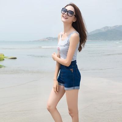 Summer Denim Short Jeans For Women Casual Slim High Waist Stretch Jeans Shaping Ladies Highwaisted Shorts Denim Hotpants 2019 2