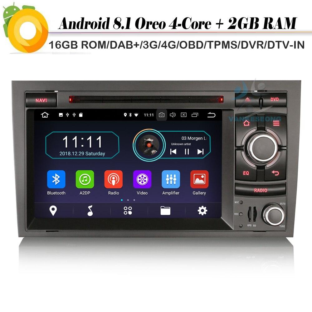 Quad Core DAB + 4G TPMS pour Audi A4 S4 RS4 RNS-E Android 8.1 Autoradio Sat Nav Autoradio lecteur WiFi DVD Bluetooth GPS DVR OBD