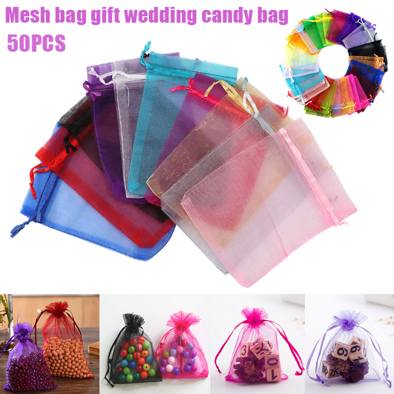 Wedding Gift Pouches: 50pcs Candy Pouches Bags Transparent Mesh Organza Gift