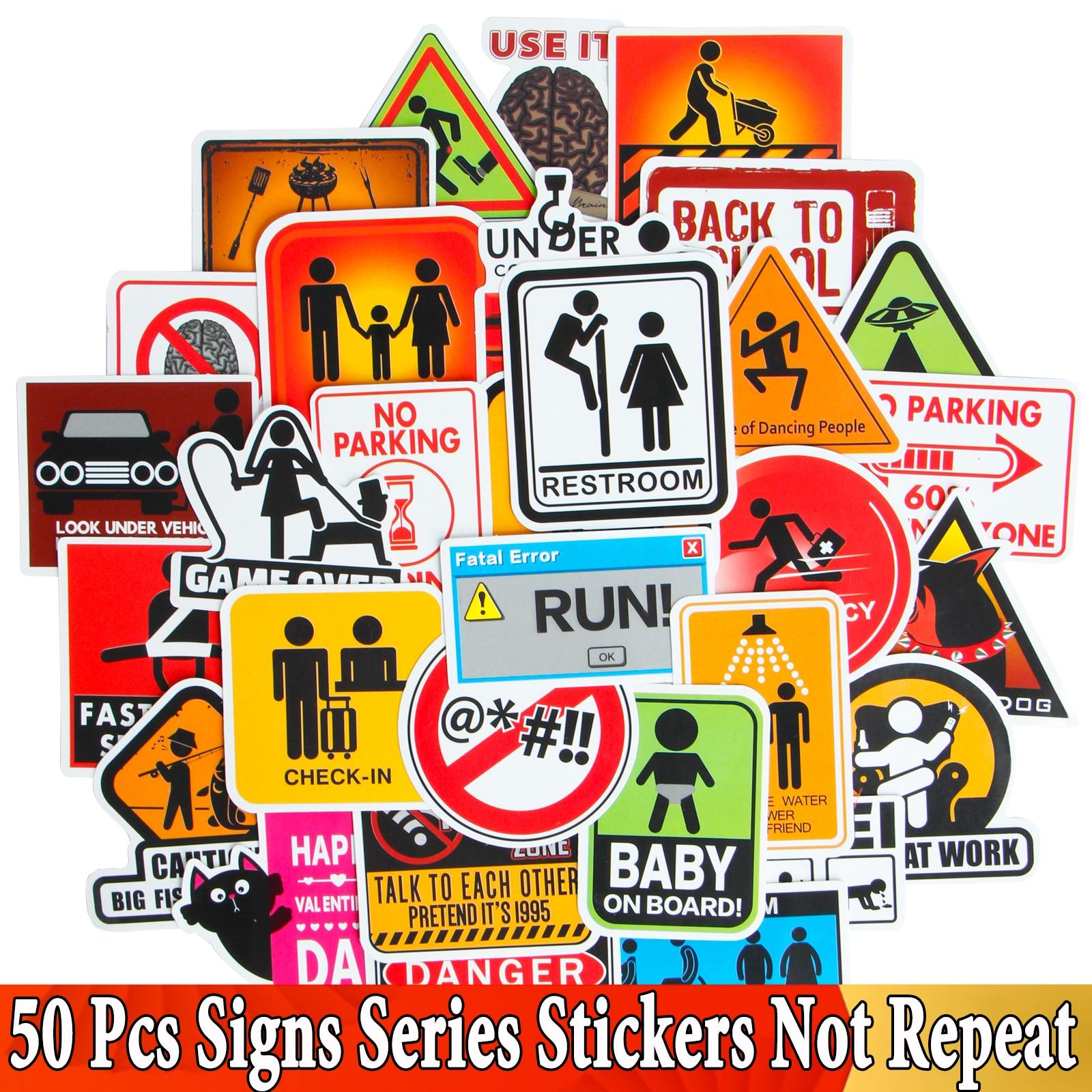 50 Pcs JDM Warning Road Reminder Danger Banning Signs Stickers For Car Laptop Motorcycle Luggage Bicycle Snowboard Sticker Toys