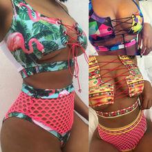fb59e0ccd Mulheres quentes Novos Fatos de banho de Cintura Alta Swimwear Acolchoado  Bra Push Biquíni Set Print
