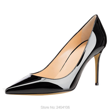 New Arrival Spring Autumn Office Lady Thin High Heels Slip-On Pointed Toe Patent Leather Casual Women Party Dress Pumps Shoes