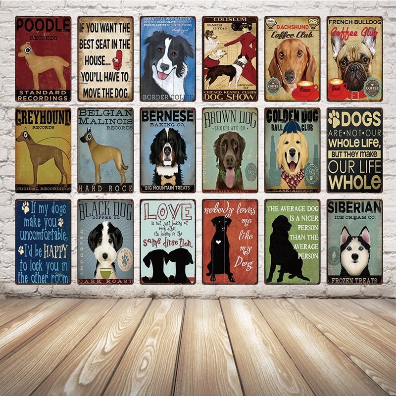 [Kelly66] perro Poodle siberiano bernés Metal cartel de estaño decoración del hogar Bar pared arte pintura 20*30 CM tamaño Dy41 Candelabro hueco de Metal, vela artesanal, luz de té, decoración del hogar, candelero marroquí, candelabro, decoración de boda