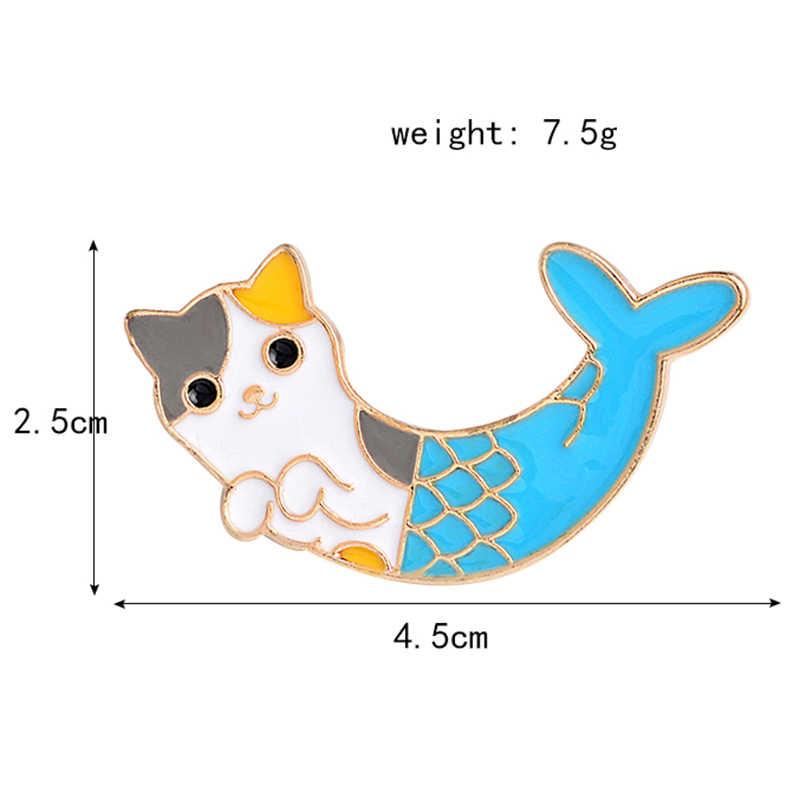 Blau Katze Fisch Fischschwanz Tier Brosche Glück Meerjungfrau Abzeichen Emaille Denim Leder Pin Kind Freund Cartoon Mode Geschenk