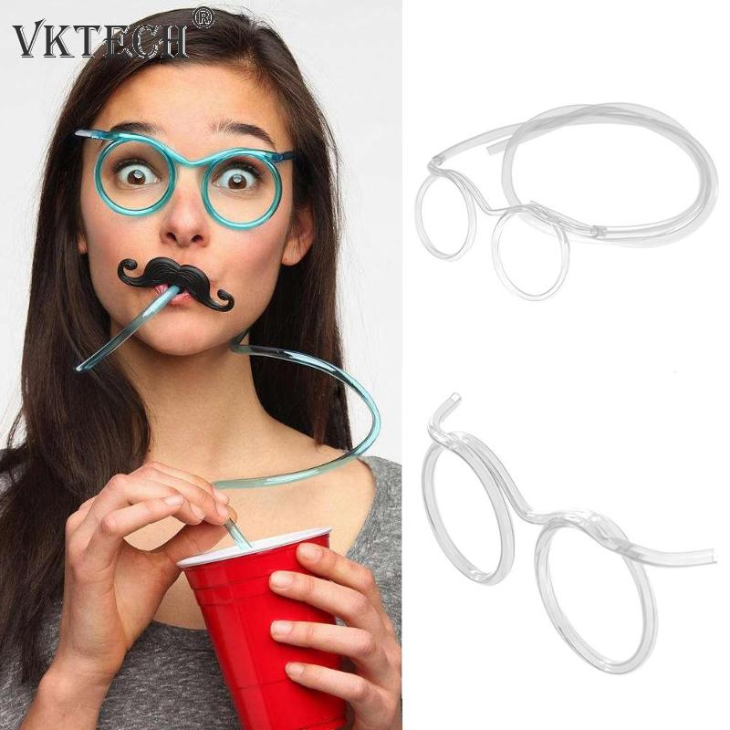 Flexible Soft Plastic Glasses Straw Kids Party Unique Drinking Tube Long Clear Straw Funny Party Supplies