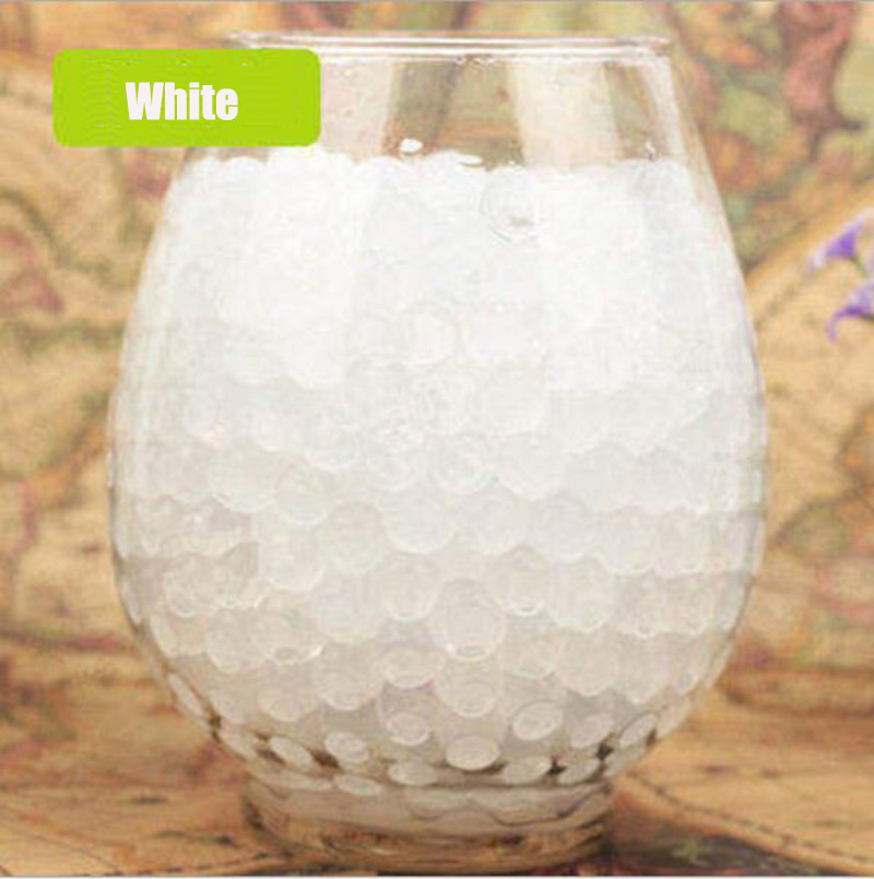 About 100Pcs/lot White Water Baby Beads Crystal Soil Water Beads Mud Growing Ball Water Magic Balls Home Decor Wedding Hydrogel