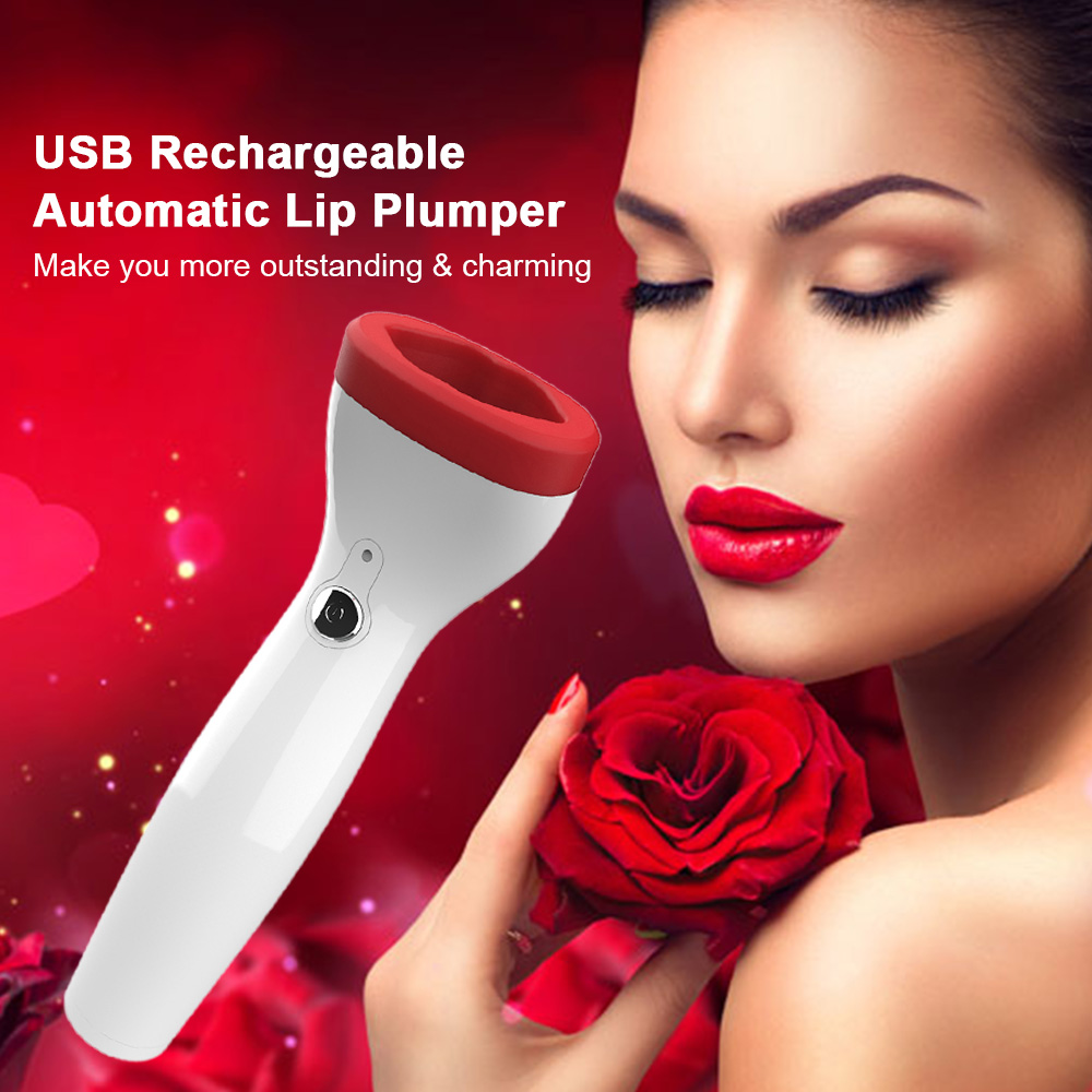 USB Rechargeable Automatic Lip Plumper Electric Full Lip Enhancer Silicone Lip Enhancement Device Cosmetic Makeup Tool