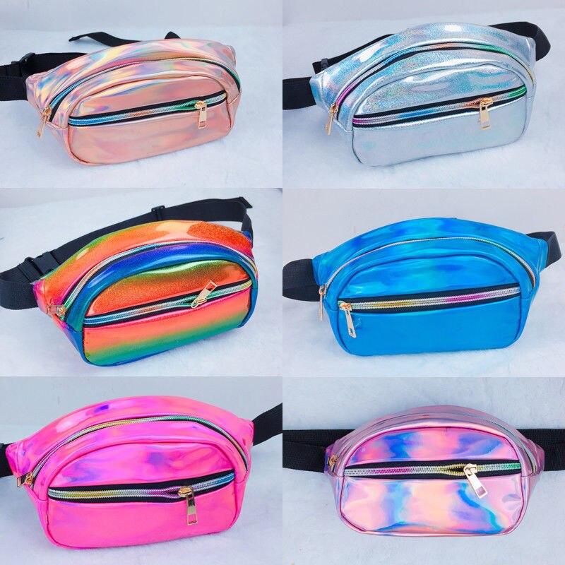 Women Men Unisex Fanny Waist Packs Clear Glitter Waist Belt Bum Bag Pouch Hip Purse Travel Bag Wallet