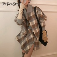 TWOTWINSTYLE Wool Plaid Two Piece Set Female Batwing Long Sleeve Coat High Waist Asymmetrical Skirt Womens Suits 2019 Spring New