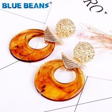 ZA Multi-Color Crystal Drop Earrings Fashion Women geometric Gold Color Statement Earrings Wedding Party Bohemia Jewelry new hot(China)