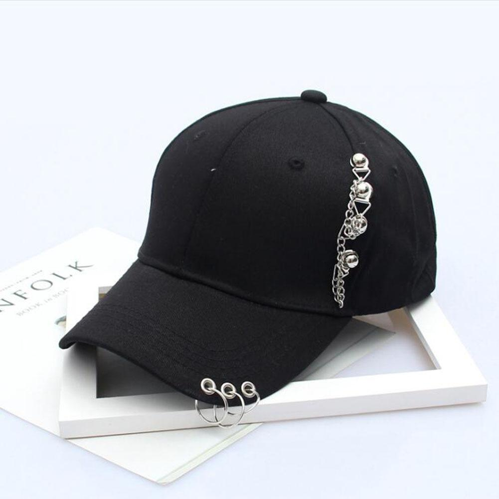 MISSKY 2019 Summer Lovers Women Men   Baseball     Cap   Solid Black White Color Cool All Match Chain Iron Ring Female Male Hiphop Hats