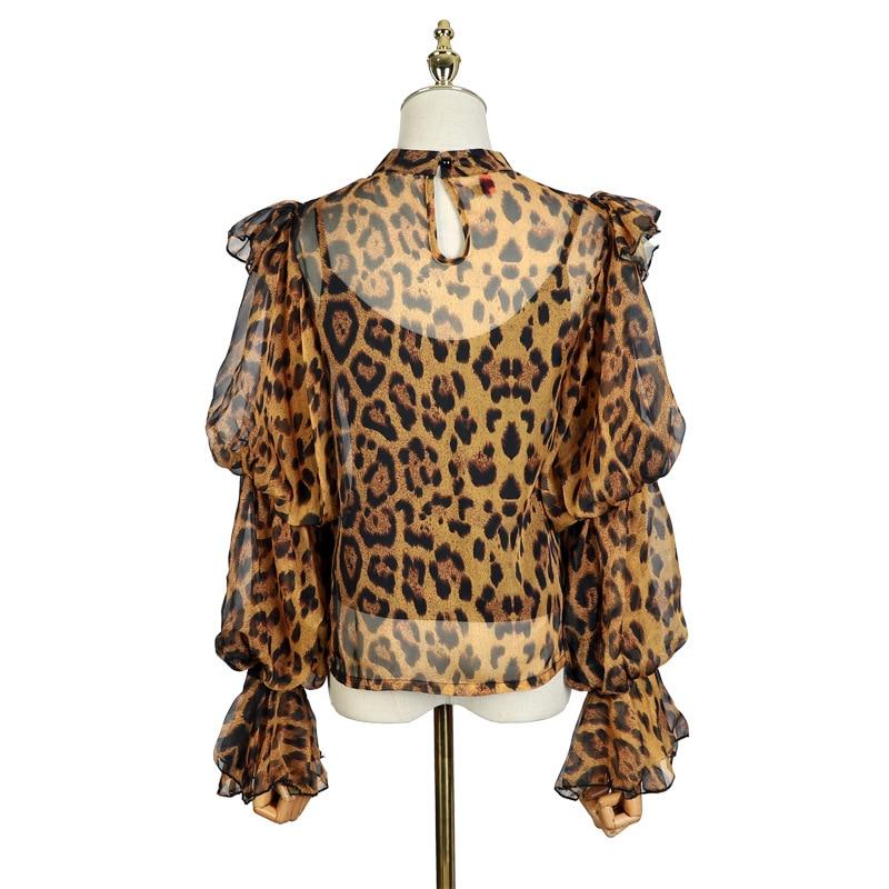 Conjunto Tops Leopardo Black Ropa Puff Pura Largo De Chiffon Moda Primavera Para Piezas Estampado Mujer Manga Blusas Print leopard Coreano Y 2019 menkay Dos R1Yw7qxtZ