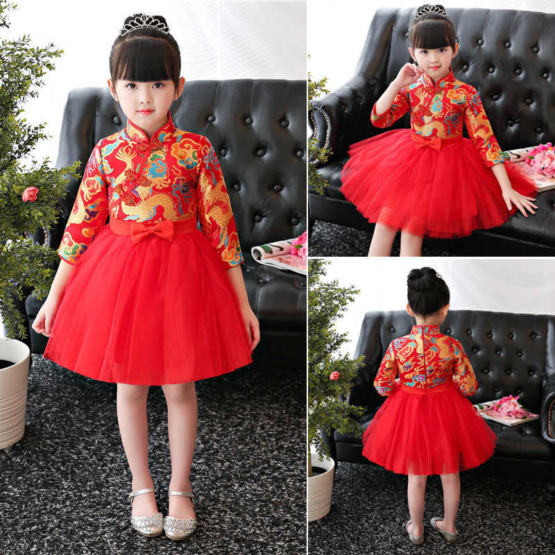 03edadc05cc35 Chinese Traditional Girl MIdi Dress Red Embroidery QiPao Cheongsam Chinese  Gown Hot New Baby Girl New Year Chinese QiPao Dress