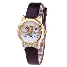 цена Cute Cat Face Round Dial Rhinestone Faux Leather Wristwatch Women Analog Quartz Wrist Watch For Female Ladies Girl Birthday Gift онлайн в 2017 году