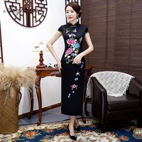 Women Chinese Traditional Dress Black Cheongsam Long Dresses Chinoise Mother Qi Pao Robe Orientale Vintage Gown Plus Size Qipao