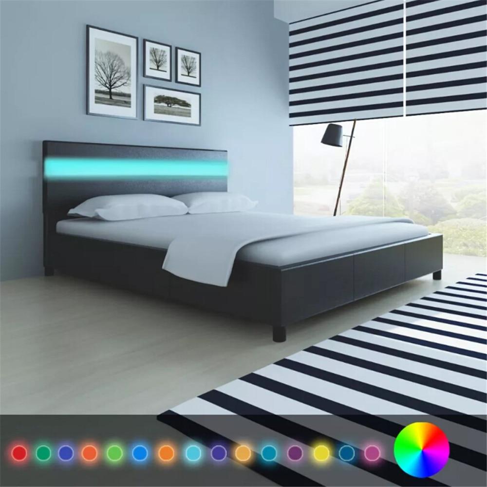 Black Artificial Leather <font><b>Bed</b></font> with LED Headboard <font><b>Bed</b></font> Frame 200 x 160 cm Bedstead Platform <font><b>Bed</b></font> for Bedroom Home Hotel