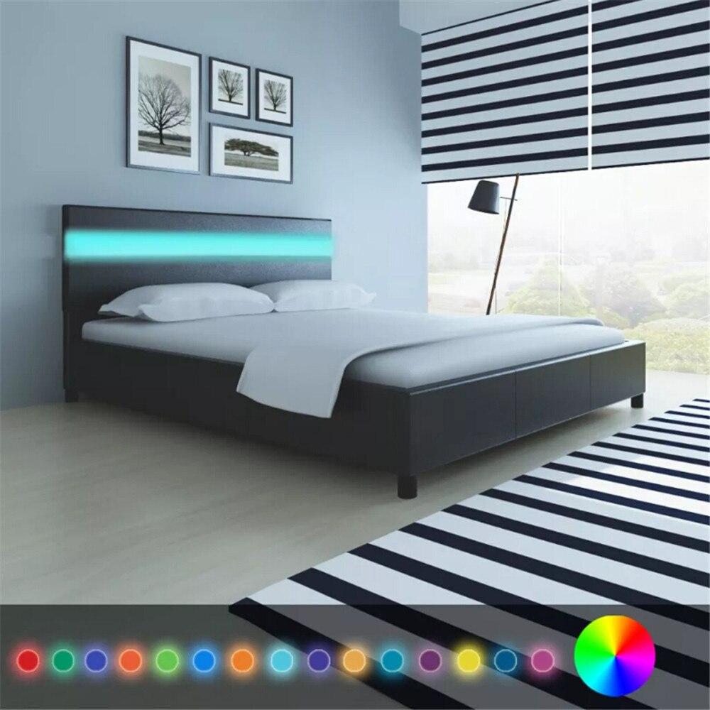 Lit en cuir artificiel noir avec tête de lit LED cadre de lit 200x160 cm lit plate-forme de lit pour chambre maison hôtel