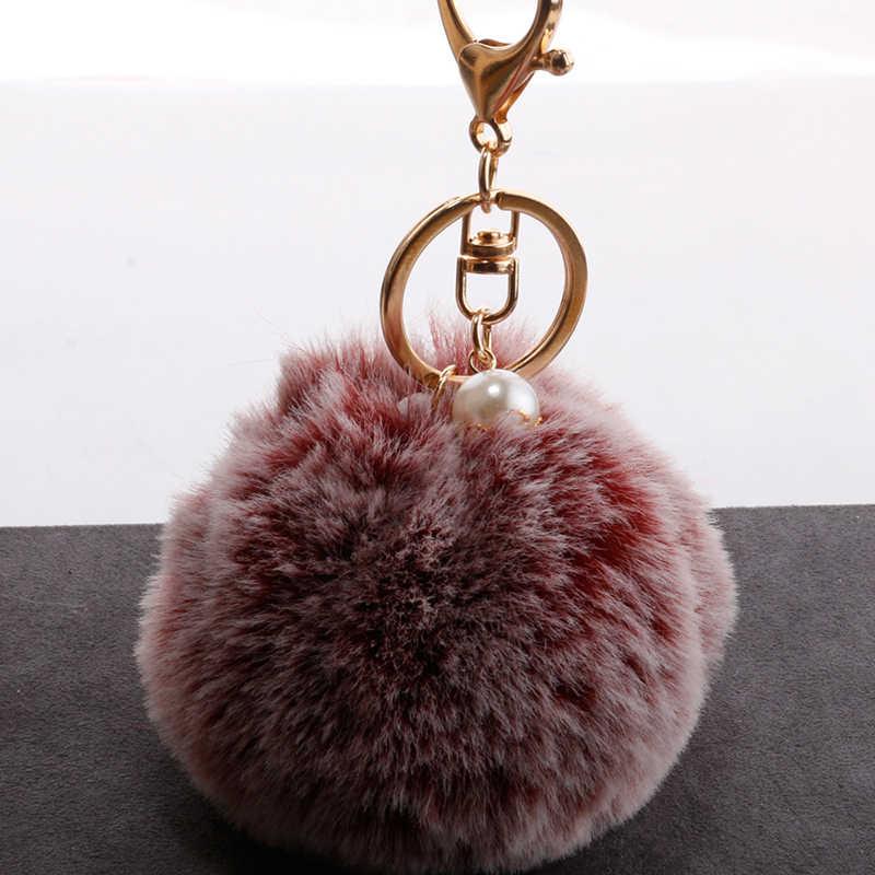 Chaveiro Bola de Pêlo Pompom fofo Fuzzy Macio Coelho de Pelúcia Bolas 8 cm Pompom Bolsa Sacos Chave Do Carro do anel Chave anéis de gancho decoração 20 cor