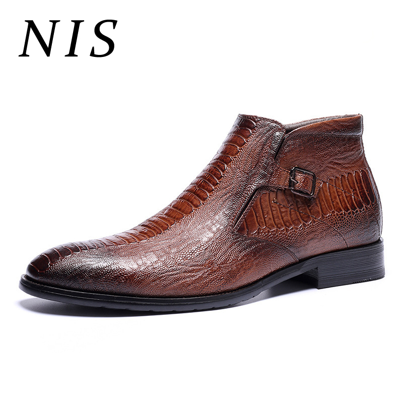 NIS Embossed Leather Chelsea Boots Men Shoes Autumn Winter 2019 Plush Inner Pointed Toe Side Zipper