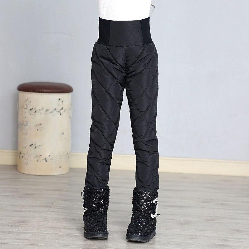 Haute Qualité Blanc Duvet de Canard Filles Pantalon D'hiver Automne Taille Haute Chaud Épais Enfants Pantalon Adolescente Leggings Blanc Noir Bleu